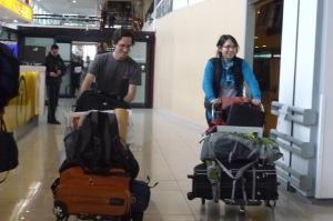 Phil y Pilar llegando a Chile